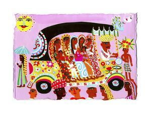 Women and Children Traveling in Ornate Auto Rickshaw by Chris Corr