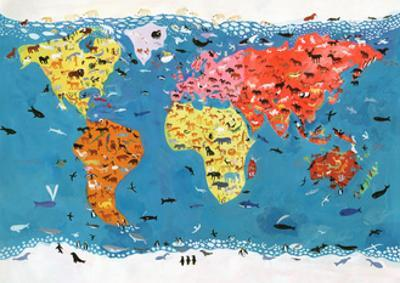 World Map of Wild Animals by Chris Corr