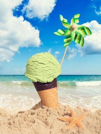 Mint Icecream in Chocolate Wafer Cone on the Beach - Vintage Tone Effect Added