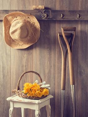 Rustic Country Shed Interior with Freshly Picked Yellow Roses in Basket by Chris_Elwell