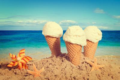Vanilla Ice Creams on the Beach - Nostalgic Retro Tone Effect Added