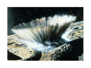 A Meteorite Crashes Creating a Storm of Rocks and Dust on Mercury by Chris Foss