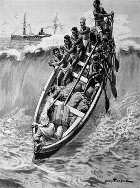 Landing Boat & Breaking Waves Gulf of Guinea 1902 by Chris Hellier