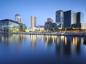 Dawn at Mediacity Uk Home of the Bbc, Salford Quays, Manchester, Greater Manchester, England, UK by Chris Hepburn