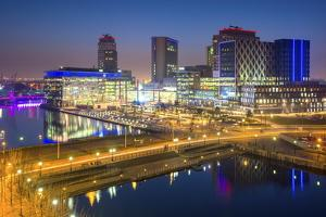 Elevated View of the Modern Mediacity Uk Complex at Salford Quays in Manchester, England by Chris Hepburn
