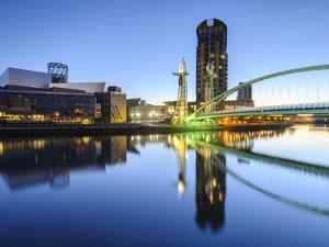 Millennium Bridge and Lowry Centre at Dawn, Salford Quays, Manchester, Greater Manchester, England by Chris Hepburn