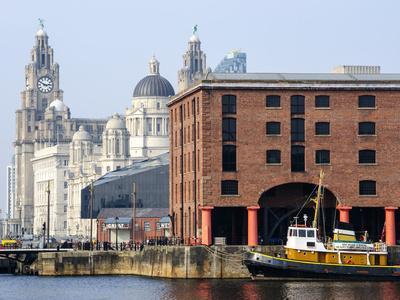 Royal Liver Building and Albert Docks, UNESCO World Heritage Site, Liverpool, Merseyside, England,