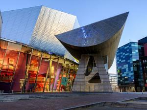 The Lowry Centre Theatre at Dawn, Salford Quays, Manchester, Greater Manchester, England, UK by Chris Hepburn
