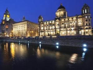 The Three Graces at Dusk, Cunard Building, Port of Liverpool Building, UNESCO World Heritage Site, by Chris Hepburn