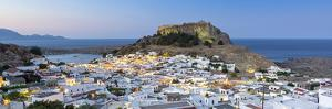 White Rooftops of Lindos with the Acropolis of Lindos, Rhodes, Dodecanese, Greek Islands, Greece by Chris Hepburn
