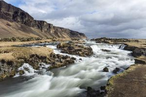 Wide Angle View of River at Foss a Sidu, South Iceland, Iceland, Polar Regions by Chris Hepburn