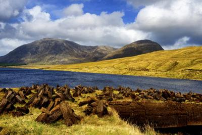 Cut Turf at Lough Inagh in Connemara, Ireland by Chris Hill
