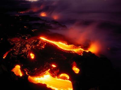 Lava from Kilauea Swirls before Flowing into the Ocean Near Kamoamoa by Chris Johns