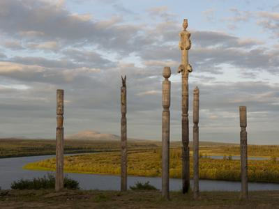 N Totems Stand on a Ridge Above the Panteleikha River, a Tributary of the Kolyma River