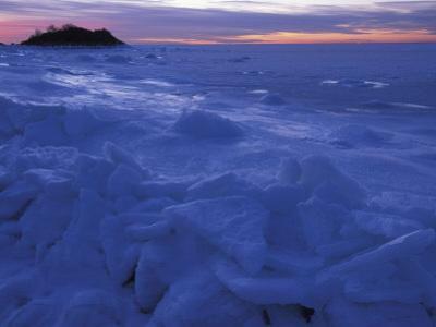 Sea Ice in Buzzards Bay, Cape Cod, Massachusetts, USA
