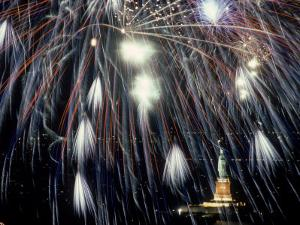 Fireworks Over the Statue of Liberty by Chris Minerva