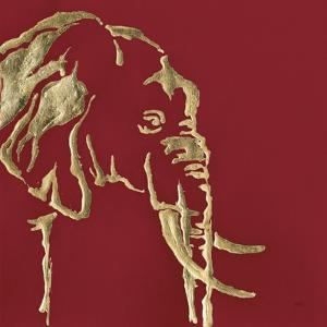 Gilded Elephant on Red by Chris Paschke