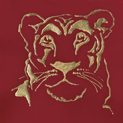 Gilded Lioness on Red by Chris Paschke