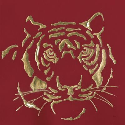 Gilded Tiger on Red by Chris Paschke