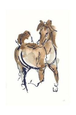 Sketchy Horse V Navy by Chris Paschke