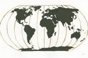 World Map Gold Lines by Chris Paschke