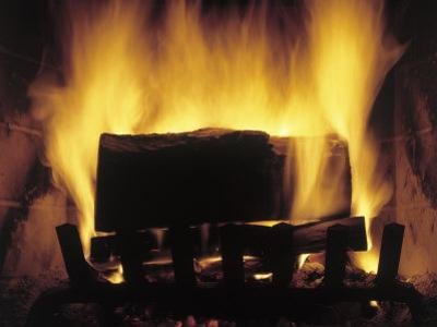 Log Burning in Fireplace by Chris Rogers