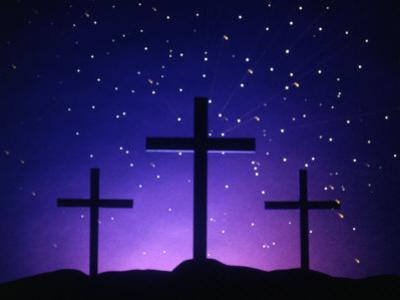 Silhouetted Crosses Against Star-Filled Sky by Chris Rogers