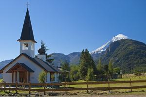 Argentina, Patagonia, National Park Lana, Mapuche Church, Volcano Lana, 3740 M, Snowy Summit by Chris Seba