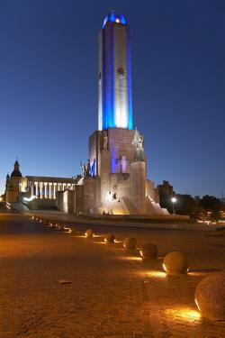 Argentina, Rosario, National Monument, 'Monumento De La Bandera', Lighting, Evening by Chris Seba