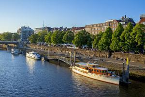 Bank of River Weser, Martinianleger, Bremen, Germany, Europe by Chris Seba