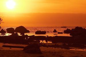Brazil, Bahia, Island Morro De Sao Paulo, Beach, Rock, Sea, Sunset by Chris Seba