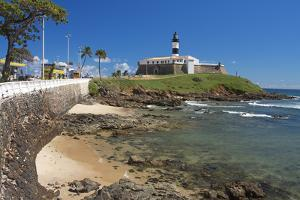 Brazil, Salvador Da Bahia, District Barra, Fort, Lighthouse, Rock Coast, Sea by Chris Seba