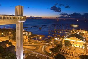 Brazil, Salvador Da Bahia, Elevador Lacerda, Harbour, Lighting, Evening by Chris Seba