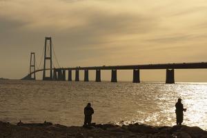 Denmark, Funen, Anglers, Great Belt Bridge, Sunset by Chris Seba
