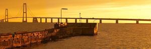 Denmark, Funen, Great Belt Bridge, Sunset by Chris Seba