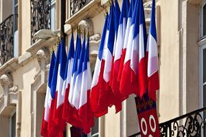 Europe, France, Macon, Saone, City Hall, Row of Flags, National Flags by Chris Seba