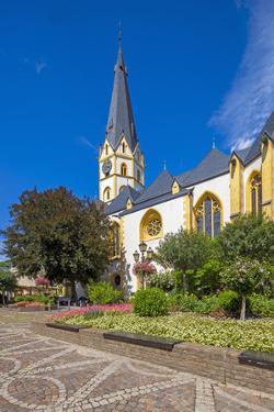 Europe, Germany, Ahrtal, Ahrweiler, Old Town in the Evening, Saint Laurentius Church by Chris Seba