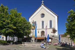 Europe, Germany, Bavaria, Upper Palatinate, Rštz, Marketplace, Church by Chris Seba