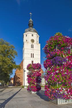 Europe, Germany, Brandenburg, Spreewald, L?bben, Market Church, Floral Decoration by Chris Seba