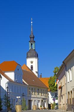 Europe, Germany, Brandenburg, Spreewald, L?bbenau, Main Street with Steeple, Sankt-Nikolai Church by Chris Seba
