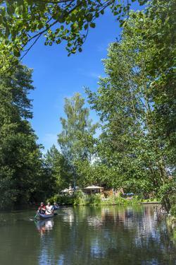 Europe, Germany, Brandenburg, Spreewald (Spree Forest), Leipe, Canoe Driver on Water Canal by Chris Seba