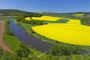 Europe, Germany, Eastern Westphalia, Rape Fields, Excursion Boat, Weser Course, Canoeist, Jetty by Chris Seba