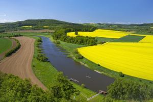 Europe, Germany, Eastern Westphalia, Rape Fields, Holiday Ship, Weser Course, Canoeist, Jetty by Chris Seba