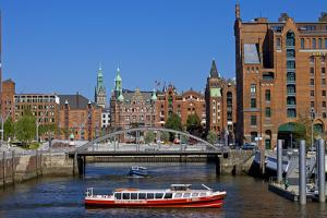 Europe, Germany, Hamburg, Old Warehouse District, Canal, Excursion Boat by Chris Seba