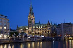 Europe, Germany, Hamburg, Townhall, Dusk by Chris Seba