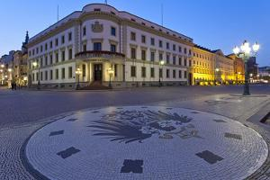 Europe, Germany, Hesse, Wiesbaden, Hessian Landtag, Stone Mosaic Kaiseradlerwappen by Chris Seba