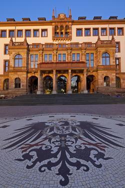 Europe, Germany, Hesse, Wiesbaden, Stone Mosaic Kaiseradlerwappen Infront of Townhall Stairs by Chris Seba