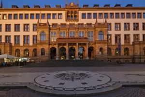 Europe, Germany, Hesse, Wiesbaden, Townhall, Stone Mosaic Kaiseradlerwappen by Chris Seba