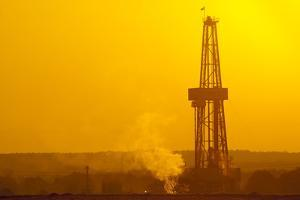 Europe, Germany, Lower Saxony, Deep Drilling Plant, Sunrise by Chris Seba