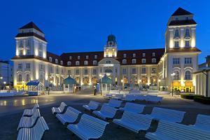 Europe, Germany, Mecklenburg-Western Pomerania, Baltic Sea Island RŸgen, Binz, Kurhaus, Evening by Chris Seba